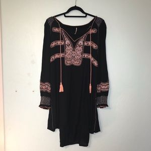 Black and peach Free People embroidered tunic